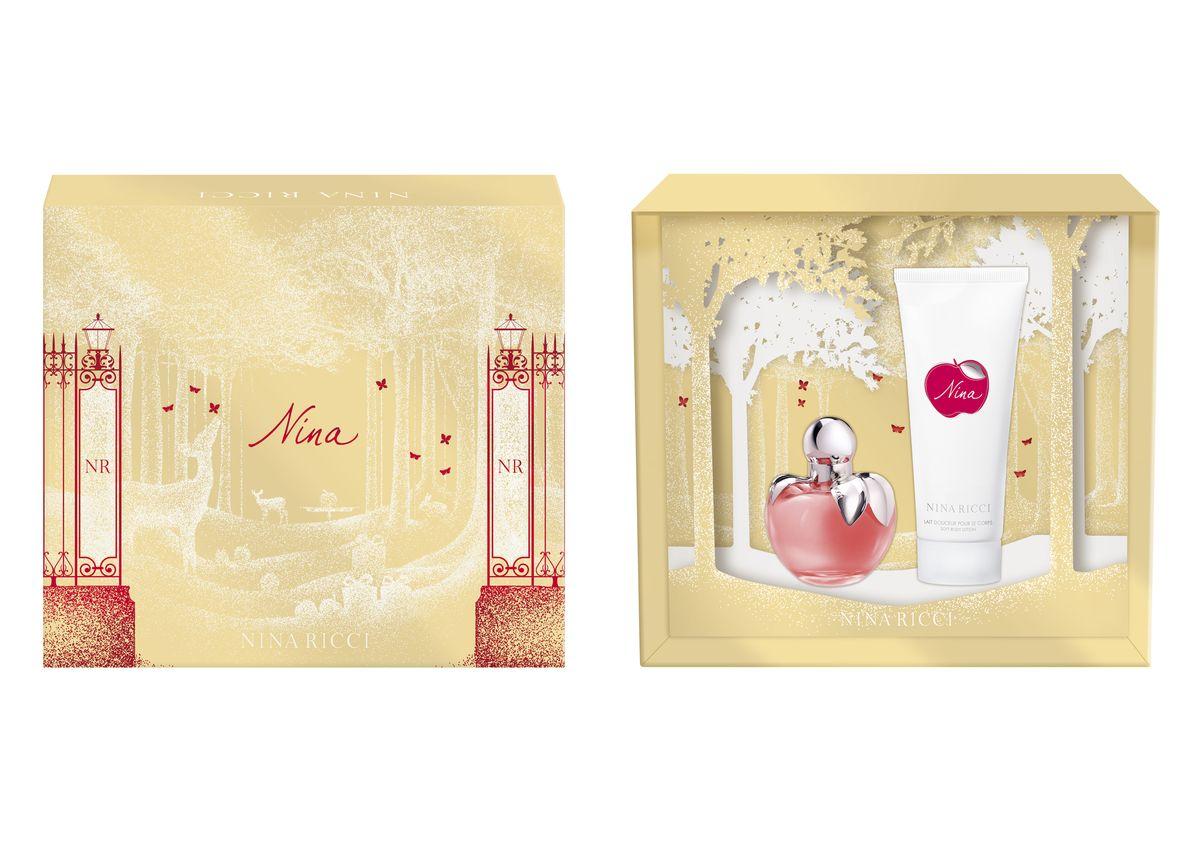 Nina Ricci Nina Подарочный набор: Туалетная вода женская 50 мл + лосьон для тела 100 мл28420_красныйАроматическая композиция NINA - нежное, соблазнительное и жизнеутверждающее имя. Понятное без перевода, интернациональное. Символичное, воплощающее новый образ женственности. NINA - новый волшебный аромат, современная сказка, полная магии и волшебных эмоций. Сказочный и романтичный аромат, наделенный силой соблазнения, обещания чуда! Для молодой женщины, любящей неожиданные сюрпризы и волшебство. Признан Лучшим ароматом 2007 года в России. Бестселлер парфюмерной коллекции бренда NINA RICCI. Флакон в стиле современный винтаж напоминает ювелирное украшение, волшебный талисман. Дизайн связан с историческим наследием NINA RICCI. Это современная интерпретация флакона в виде магического яблока соблазна. Ключевые слова: Нежный, яркий, лакомый, чувственный, эмоциональный, поэтичный, фантазийный, романтичный.
