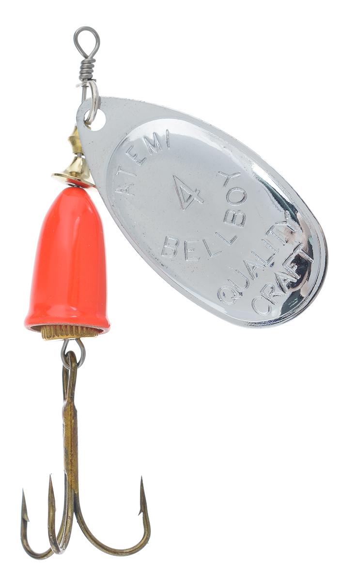 Блесна вращающаяся Atemi Bellboy, цвет: серебристый, оранжевый, размер крючка №4, 10 г509-25214Блесна Atemi Bellboy выполнена из высококачественного металла и имеет яркий окрас. Главной деталью оснастки вращающейся блесны, определяющей ее гидродинамические и акустические свойства, является лепесток. Даже регулярный звук, создаваемый лепестком, зависит от скорости проводки блесны в воде и пропадает при зацепах блесны о дно, растения или другие подводные препятствия. Звук, издаваемый блесной, может оказать помощь при ловле хищников в мутной воде, в дорожках чистой воды между островками водных растений и на большой глубине, куда плохо проникает солнечный свет. Подобрать необходимый тон звучания блесны непросто, но тем и интересна рыбалка. Вращающаяся блесна считается среди рыболовов универсальной спиннинговой приманкой. Принцип действия достаточно прост, при вращении лепесток создает под водой шумы, которые и привлекают рыбу. В момент атаки рыба видит только небольшую лакомую добычу, это позволяет ловить даже самую капризную рыбу. На вращающиеся блесны...