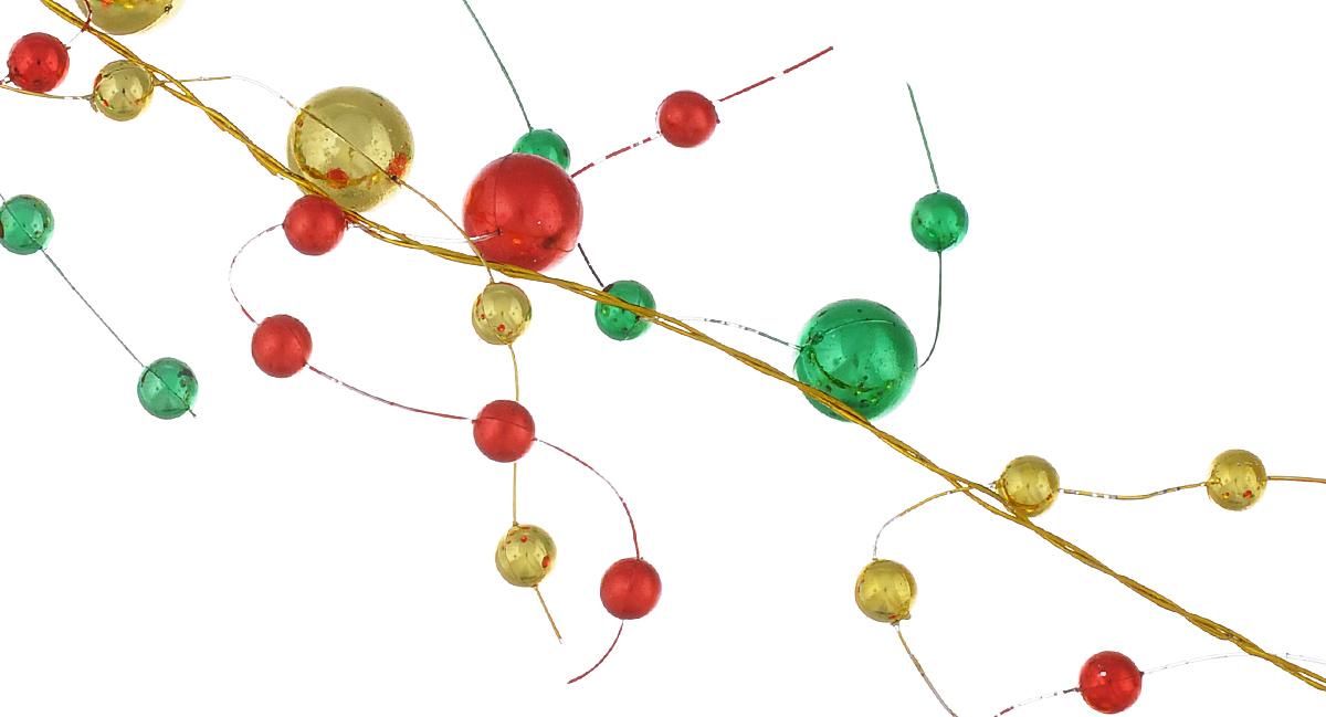 Новогоднее украшение бусы Lunten Ranta Веточки, цвет: красный, золотой, зеленый, 2 м65559Новогоднее украшение Lunten Ranta Бусы. Веточки отлично подойдет для декорации вашего дома и новогодней ели. Изделие, выполненное из пластика, представляет собой гирлянду, на леске, на которой нанизаны круглые бусины разного размера. Новогодние украшения несут в себе волшебство и красоту праздника. Они помогут вам украсить дом к предстоящим праздникам и оживить интерьер по вашему вкусу. Создайте в доме атмосферу тепла, веселья и радости, украшая его всей семьей. Диаметр бусин: 1 см; 0,5 см.