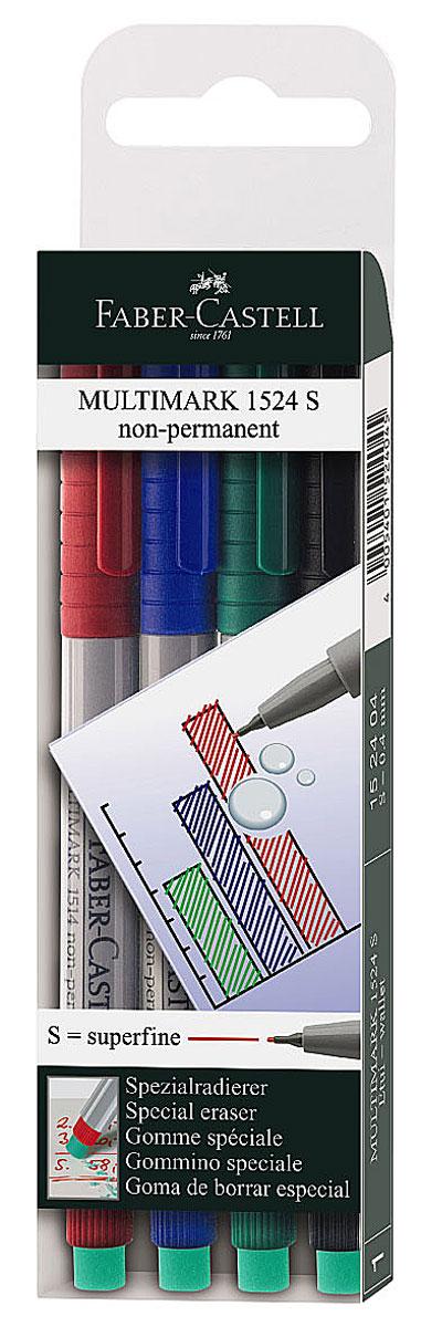 Faber-Castell Капиллярная ручка Multimark S для письма на пленке 4 цвета152404Капиллярная ручка Multimark предназначена для письма на CD, DVD дисках, пленках для проекторов и других гладких поверхностях. Ручка с обратной стороны содержит специальный ластик для стирания чернил. Чернила быстросохнущие, с яркими цветами, корпус изготовлен из прочного пластика. В наборе 4 цвета: черный, красный, синий, зеленый.