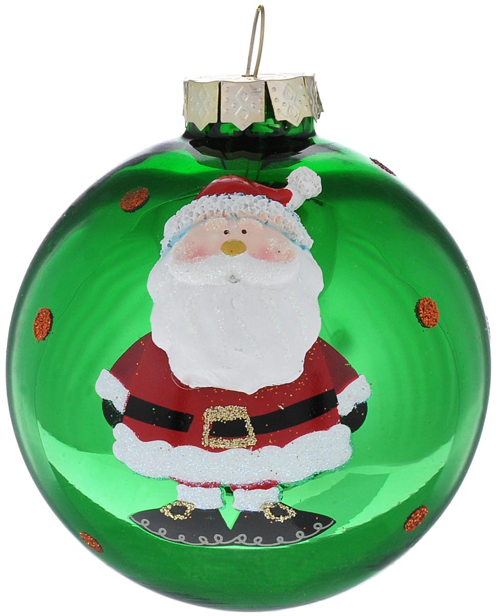 """Новогоднее подвесное украшение It's a Happy Day """"Дедушка Мороз"""", цвет: зеленый, диаметр 8 см 66494"""