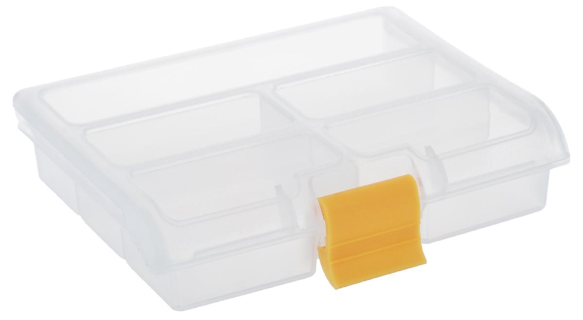 Органайзер для мелочей Idea, цвет: прозрачный, желтый, 5 секцийUP210DFОрганайзер Idea выполнен из высококачественного полипропилена и предназначен для хранения различных мелочей. В органайзере имеется 7 ячеек, размер которых позволяет хранить в них различные бусины, мелочи для рукоделия, например, бисер, блестки, стразы и другое. Прозрачная крышка изделия - легко открывается и плотно закрывается на застежку. С таким органайзером у вас всегда будет порядок на вашем рабочем столе.Размер ячейки: 6,5 см х 3,2 см х 2,5 см; 13 см х 3,5 см х 2,5 см.