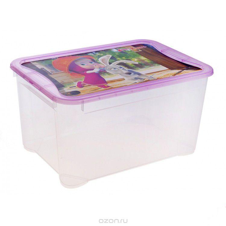 Пластишка Ящик для игрушек Маша и Медведь цвет фиолетовый 55 см х 39 см х 19 см