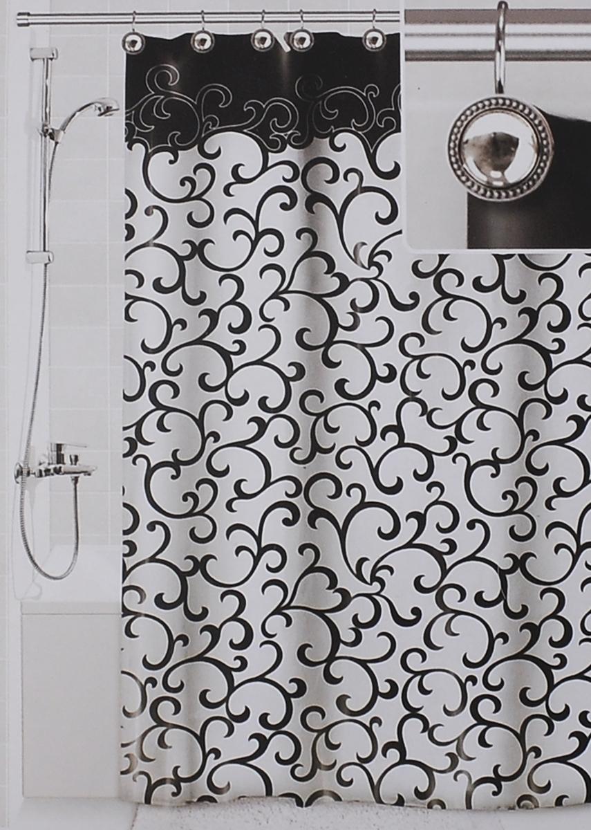 Штора для ванной Valiant Элегант, цвет: белый, черный, 180 см х 180 смDLX-CШтора для ванной комнаты Valiant Элегант из 100% плотного полиэстера с водоотталкивающей поверхностью идеально защищает ванную комнату от брызг. В верхней кромке шторы предусмотрены отверстия для декоративных крючков, выполненных в одном стиле (входят в комплект), а в нижней кромке шторы скрыт гибкий шнур, который поддерживает ее в естественной расправленной форме. Штору можно легко почистить мягкой губкой с мылом или постирать ее с мягким моющим средством в деликатном режиме. Количество крючков: 12 шт.