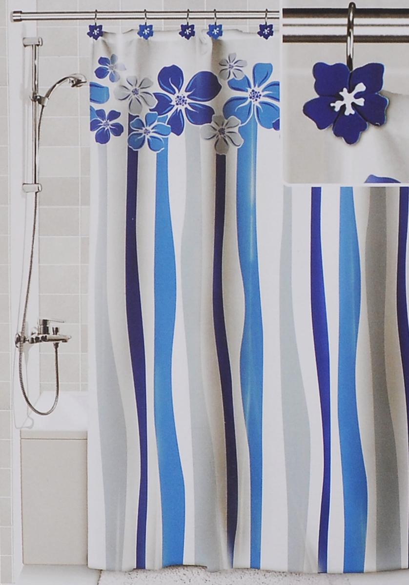 Штора для ванной Valiant Водопад цветов, цвет: белый, голубой, 180 х 180 смDLX-FШтора для ванной комнаты Valiant Водопад цветов из 100% плотного полиэстера с водоотталкивающей поверхностью идеально защищает ванную комнату от брызг. В верхней кромке шторы предусмотрены отверстия для декоративных крючков, выполненных в одном стиле (входят в комплект), а в нижней кромке шторы скрыт гибкий шнур, который поддерживает ее в естественной расправленной форме. Штору можно легко почистить мягкой губкой с мылом или постирать ее с мягким моющим средством в деликатном режиме. Количество крючков: 12 шт.