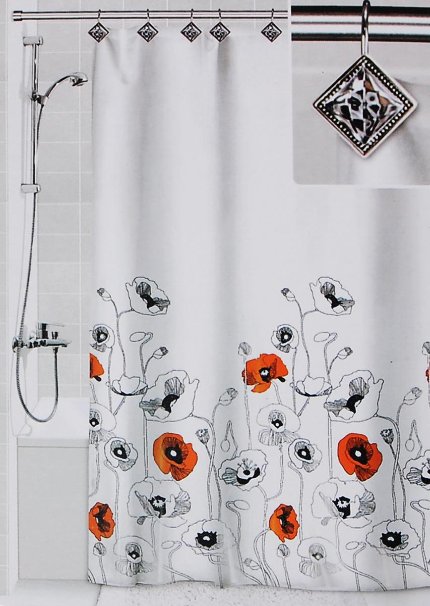 Штора для ванной Valiant Маки, цвет: белый, черный, оранжевый, 180 х 180 смDLX-MШтора для ванной комнаты Valiant Маки из 100% плотного полиэстера с водоотталкивающей поверхностью идеально защищает ванную комнату от брызг. В верхней кромке шторы предусмотрены отверстия для декоративных крючков, выполненных в одном стиле (входят в комплект), а в нижней кромке шторы скрыт гибкий шнур, который поддерживает ее в естественной расправленной форме. Штору можно легко почистить мягкой губкой с мылом или постирать ее с мягким моющим средством в деликатном режиме. Количество крючков: 12 шт.