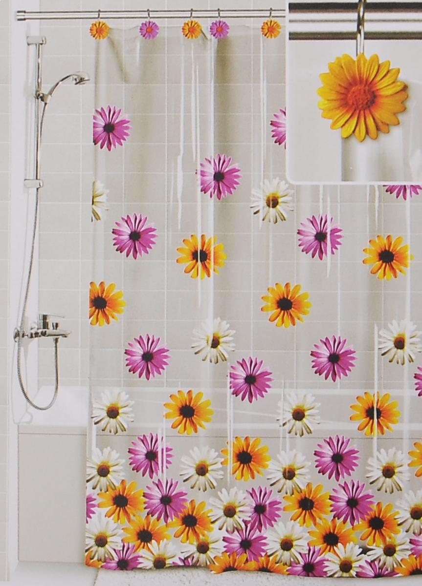 Штора для ванной Valiant Герберы, цвет: белый, желтый, розовый, 180 см х 180 смDLX-GШтора для ванной комнаты Valiant Герберы из 100% плотного винила с водоотталкивающей поверхностью идеально защищает ванную комнату от брызг. В верхней кромке шторы предусмотрены отверстия для декоративных крючков, выполненных в одном стиле (входят в комплект). Штору можно легко почистить мягкой губкой с мылом или постирать ее с мягким моющим средством в деликатном режиме. Количество крючков: 12 шт.