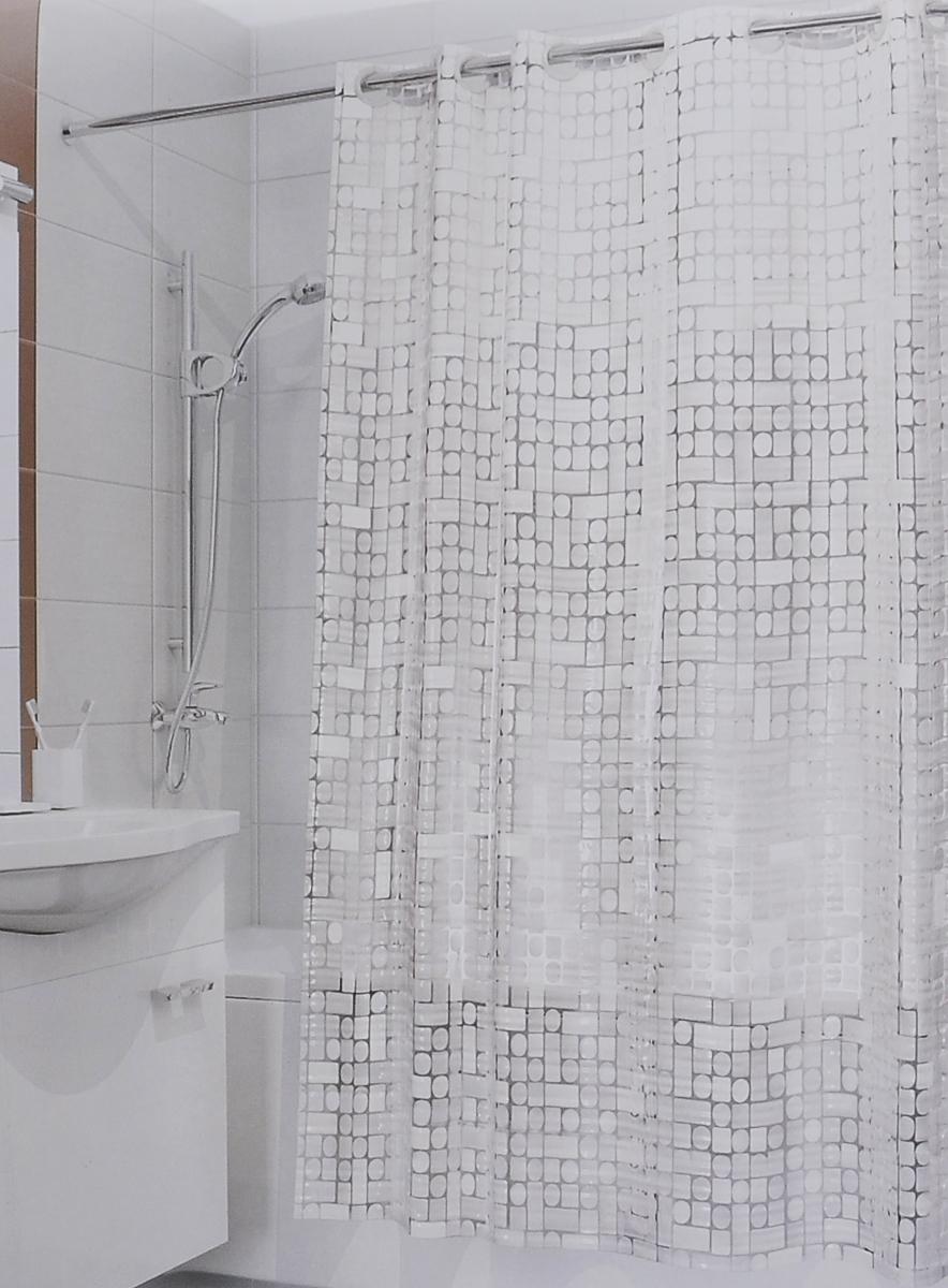 Штора для ванной 3D Valiant Сияние, цвет: белый, 180 см х 180 см3D-WШтора для ванной комнаты Valiant Сияние из 100% ЭВА с завораживающим кристаллическим эффектом идеально защищает ванную комнату от брызг. Изделие легко крепится благодаря специальным раздвижным люверсам. Штору можно легко почистить мягкой губкой с мылом.
