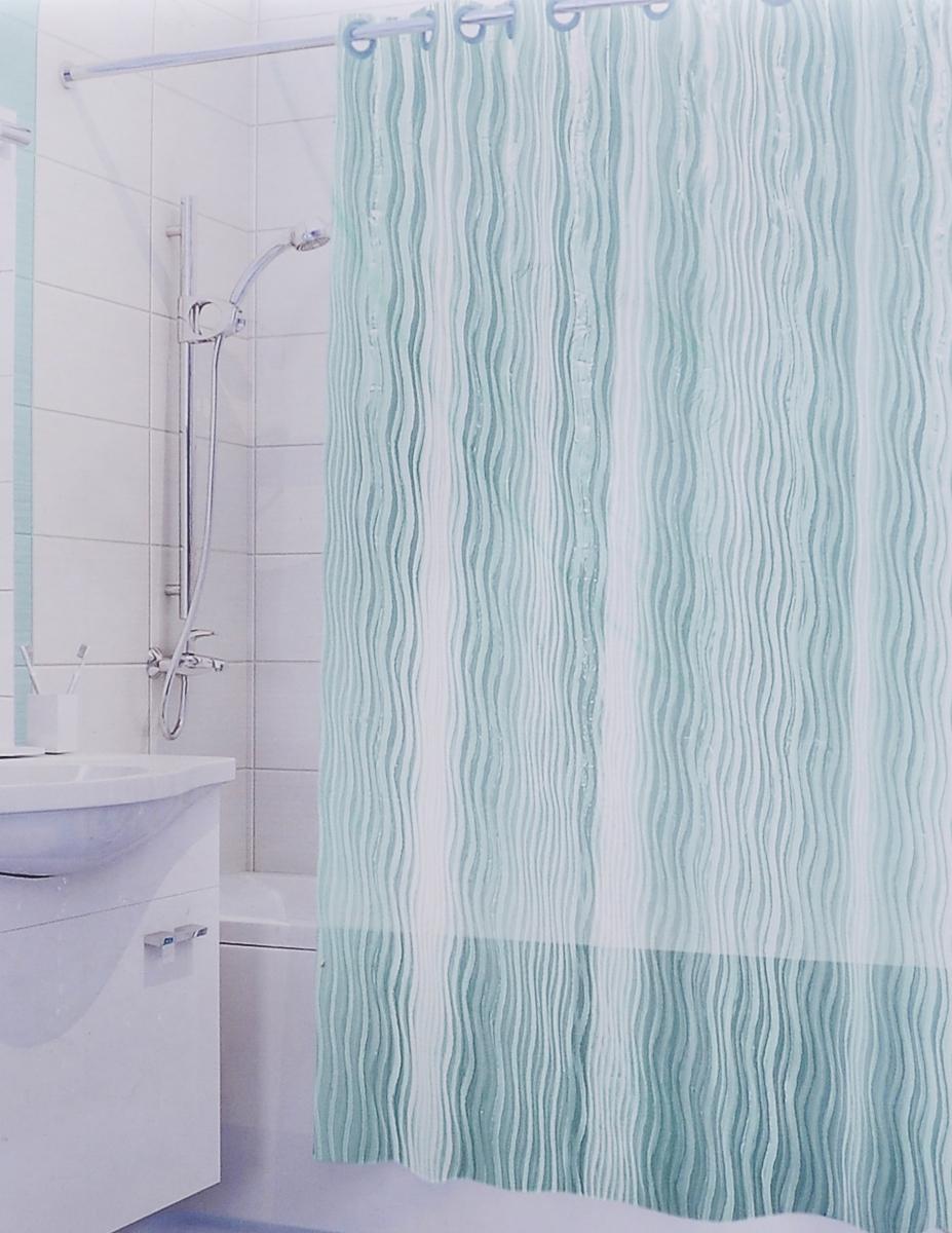 Штора для ванной 3D Valiant Волна, цвет: зеленый, 180 х 180 см106-029Штора для ванной комнаты Valiant Волна из 100% ЭВА с завораживающим кристаллическим эффектом идеально защищает ванную комнату от брызг.Изделие легко крепится благодаря специальным раздвижным люверсам.Штору можно легко почистить мягкой губкой с мылом.