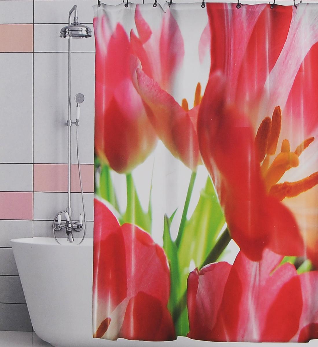 Штора для ванной Valiant Красные тюльпаны, цвет: белый, красный, 180 см х 180 смRTШтора для ванной комнаты Valiant Красные тюльпаны из 100% плотного полиэстера с водоотталкивающей поверхностью идеально защищает ванную комнату от брызг. В верхней кромке шторы предусмотрены отверстия для пластиковых колец (входят в комплект), а в нижней кромке шторы скрыт гибкий шнур, который поддерживает ее в естественной расправленной форме. Штору можно легко почистить мягкой губкой с мылом или постирать ее с мягким моющим средством в деликатном режиме. Количество колец: 12 шт.