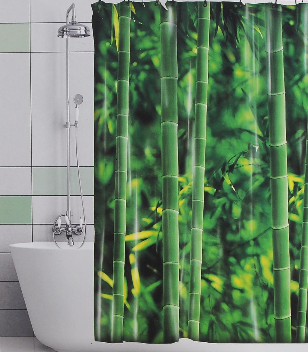 Штора для ванной Valiant Бамбуковые джунгли, цвет: зеленый, 180 х 180 смGHШтора для ванной комнаты Valiant Бамбуковые джунгли из 100% плотного полиэстера с водоотталкивающей поверхностью идеально защищает ванную комнату от брызг. В верхней кромке шторы предусмотрены отверстия для пластиковых колец (входят в комплект), а в нижней кромке шторы скрыт гибкий шнур, который поддерживает ее в естественной расправленной форме. Штору можно легко почистить мягкой губкой с мылом или постирать ее с мягким моющим средством в деликатном режиме. Количество колец: 12 шт.
