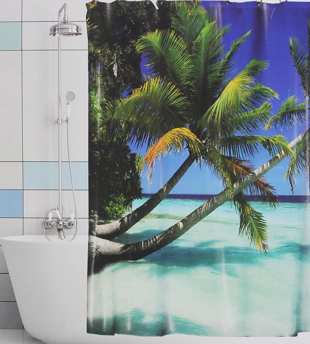 Штора для ванной Valiant Голубая лагуна, цвет: синий, зеленый, 180 см х 180 смBBШтора для ванной комнаты Valiant Голубая лагуна из 100% плотного полиэстера с водоотталкивающей поверхностью идеально защищает ванную комнату от брызг. В верхней кромке шторы предусмотрены отверстия для пластиковых колец (входят в комплект), а в нижней кромке шторы скрыт гибкий шнур, который поддерживает ее в естественной расправленной форме. Штору можно легко почистить мягкой губкой с мылом или постирать ее с мягким моющим средством в деликатном режиме. Количество колец: 12 шт.