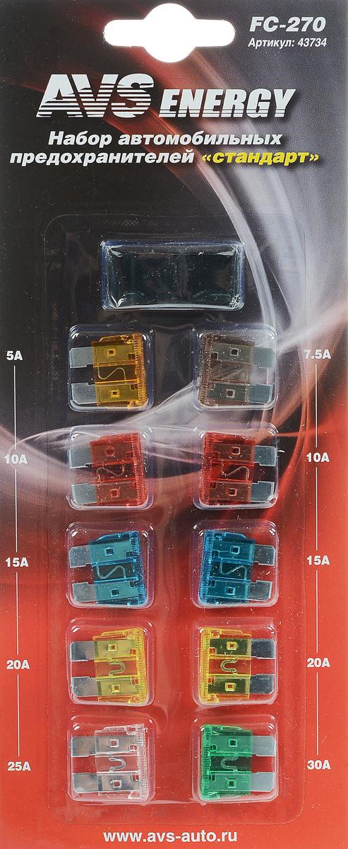 Набор автомобильных предохранителей AVS Стандарт, 10 шт43734Автомобильные флажковые предохранители AVS помогут защитить электрические цепи автомобиля от короткого замыкания и позволят без проблем заменить сгоревший предохранитель в автомобиле. Корпус предохранителя выполнен из прозрачного пластика, а элемент - из цинкового сплава. Набор автомобильных предохранителей Стандарт применяется на иномарках и большинстве отечественных автомобилей. В комплект входит 10 предохранителей разного номинала и специальный пинцет. Номинал: 5А, 7,5А, 2 х 10А, 2 х 15А, 2 х 20А, 25А, 30А. Тип: флажковые.