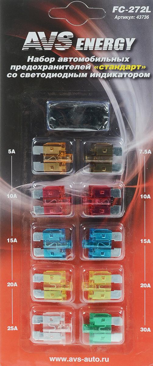 Набор автомобильных предохранителей AVS Стандарт, со светодиодом, 10 шт93728793Автомобильные флажковые предохранители AVS помогут защитить электрические цепи автомобиля от короткого замыкания и позволят без проблем заменить сгоревший предохранитель в автомобиле. Корпус предохранителя выполнен из прозрачного пластика, а элемент - из цинкового сплава. Предохранители оборудованы светодиодным индикатором, который включается, если предохранитель перегорает. Благодаря этому перегоревший предохранитель легко обнаружить и сразу же заменить. Набор автомобильных предохранителей Стандарт применяется на иномарках и большинстве отечественных автомобилей. В комплект входит 10 предохранителей разного номинала и специальный пинцет. Номинал: 5А, 7,5А, 2 х 10А, 2 х 15А, 2 х 20А, 25А, 30А. Тип: флажковые.