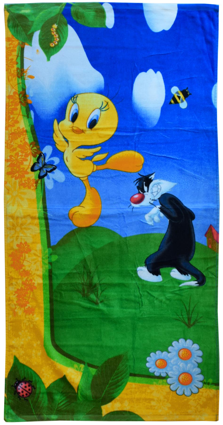 Полотенце 60*120 см, махровое, Твитти на природе01300115896Красочные полотенца 2 в 1: одна сторона развлекает, другая — вытирает. Разнообразие расцветок полотенец поможет окунуться в мир волшебных сказок и мультипликационных героев.
