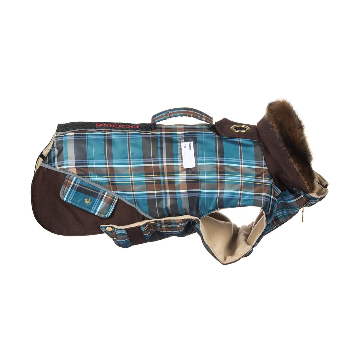 Попона для собак Dogmoda Doggs, для мальчика, цвет: синий, коричневый. Размер XLDM-140550Теплая попона для собак Dogmoda Doggs отлично подойдет для прогулок в холодное время года. Попона изготовлена из водоотталкивающего полиэстера, защищающего от ветра и осадков, с утеплителем из синтепона, который сохранит тепло даже в сильные морозы, а на подкладке используется флис, который отлично сохраняет тепло и обеспечивает воздухообмен. Попона оснащена прорезями для ног и застегивается на кнопки, а высокий ворот с расширителем имеет застежку-молнию и кнопку, благодаря чему ее легко надевать и снимать. Ворот украшен искусственным мехом. На животе попона затягивается на шнурок-кулиску с зажимом. Спинка декорирована вышитой надписью Doggs, оснащена светоотражающими элементами и ручкой. Модель снабжена непромокаемым карманом для размещения записки с информацией о вашем питомце, на случай если он потеряется. Благодаря такой попоне питомцу будет тепло и комфортно в любое время года. Попона подходит для собак следующих пород: -...