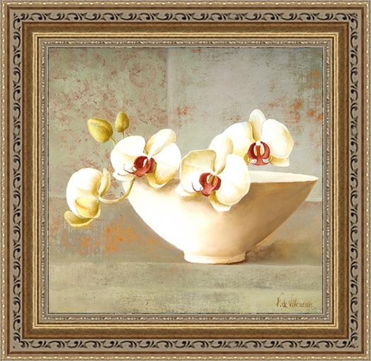 Цвет орхидеи (Fabrice de Villeneuve), 30 x 30 смES-412Художественная репродукция картины Fabrice de Villeneuve Orchid Blossom.Размер постера: 30 см x 30 см.Артикул:30x30 A4496-41709. Изображение нанесено на чрезвычайно плотную основу (это не бумага и не картон) и обрамлено в багет.Технология изготовления арт-постеров подразумевает обязательную художественную ламинацию каждого изображения, чтопридает картине дополнительную ценность, а также защищает поверхность от загрязнения, повреждений (в том числе попыток помять, исцарапать изображение), влаги и ультрафиолетовых лучей. Так, например, наши арт-постеры совершенно спокойно перенесут не одну зиму в дачном или загородном доме.Ламинирование может значительно улучшить качество изображения. Использование пленок дает различную фактуру лицевой поверхности изображения (глянцевую, матовую, холщевую, ситцевую, льняную и другие). Например, при использовании глянцевых пленок изображение проявляется - краски становятся более контрастными исочными. Технология художественного ламинирования максимально приближает изображение к натуральной картине (холст, масло), акварели.Отличить арт-постер, изготовленный по такой технологии, от копии, нарисованной художником можно лишь при детальном пристальном рассмотрении. Рассматривая арт-постер с расстояния свыше 1 метра - вы не заметите никаких отличий. А компьютерная точность воспроизведения, исключающая неточность руки копировальщика, создаст в Вашем доме ощущение присутствия настоящего шедевра, не подвластного времени. Именно поэтому арт-постеры являютсяпризнанным стандартом изготовления копий художественных произведений.При обрамлении изображений, поверхность которых защищена художественной ламинацией, стекло не требуется. А это означает отсутствие раздражающих бликов, возможности случайно разбить стекло, уменьшается вес Арт-постера.