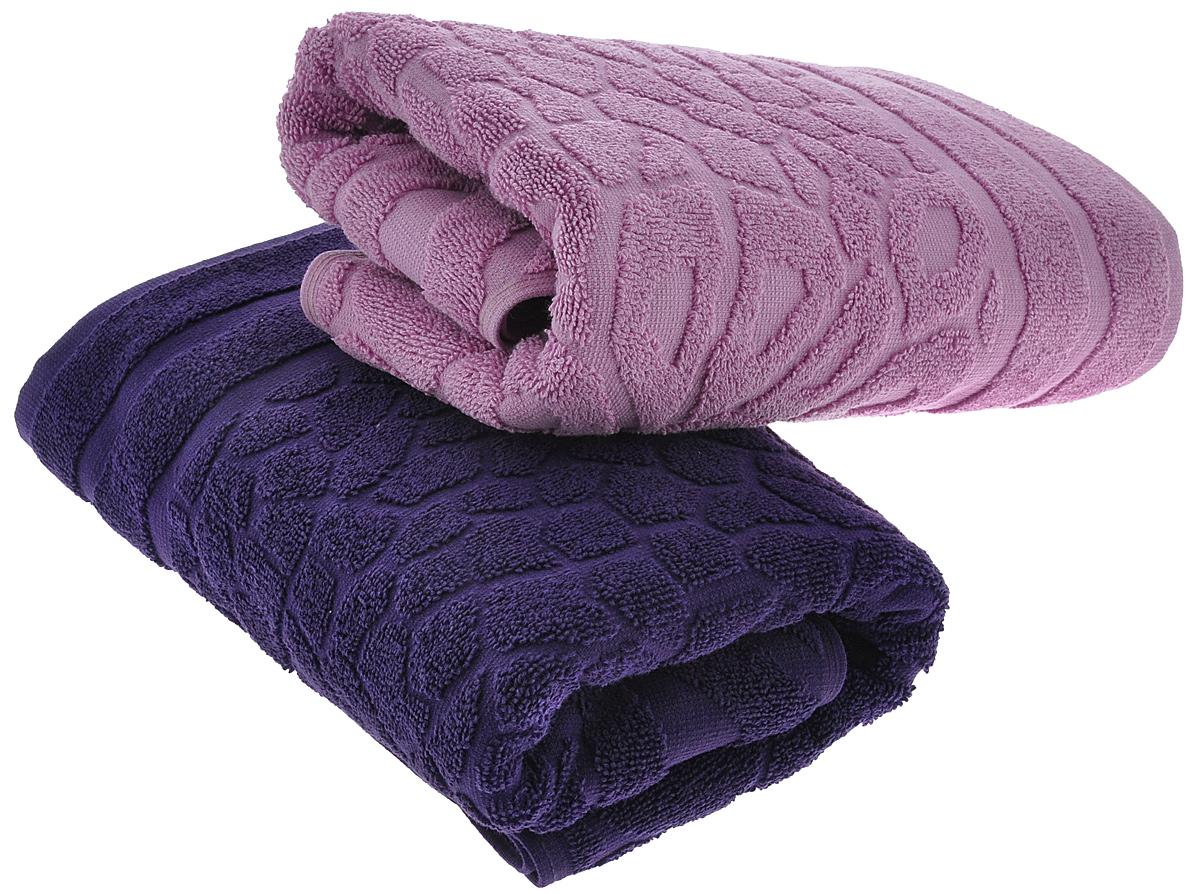 Набор полотенец Primavelle Vitra, цвет: фиолетовый, сиреневый, 50 х 90 см, 2 шт42850509-V1439Набор махровых полотенец Primavelle Vitra, изготовленных из натурального хлопка с оригинальным узором, подарит массу положительных эмоций и приятных ощущений. Каждое полотенце отличается нежностью и мягкостью материала, утонченным дизайном и превосходным качеством. Они прекрасно впитывают влагу, быстро сохнут и не теряют своих свойств после многократных стирок. Набор махровых полотенец Primavelle Vitra станет достойным выбором для вас и приятным подарком для ваших близких.