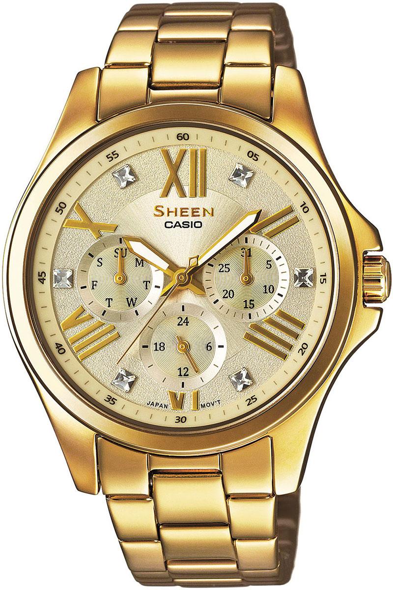 Часы женские наручные Casio, цвет: золотистый. SHE-3806GD-9ASHE-3806GD-9AНаручные часы Casio произведены опытными специалистами из материалов самого высокого качества на базе новейших технологий. Часы прошли тщательную проверку и контроль качества. Часы оснащены японским кварцевым механизмом. Корпус выполнен из высококачественной нержавеющей стали с IP покрытием. Циферблат оформлен накладными знаками в виде римских цифр и отметок, защищен минеральным стеклом и декорирован кристаллами Swarovski. Часы имеют три стрелки: часовую, минутную и секундную. Светонакопительное покрытие необрит на стрелках продолжает светиться в темноте даже после непродолжительного пребывания на свету. Браслет часов выполнен из из высококачественной нержавеющей стали с IP покрытием и оснащен застежкой-клипсой. Часы имеют дополнительные функции: индикатор даты, дня недели, 12/24-часовой формат времени. Часы укомплектованы паспортом с подробной инструкцией и упакованы в оригинальную фирменную коробку. Характеристики: ...
