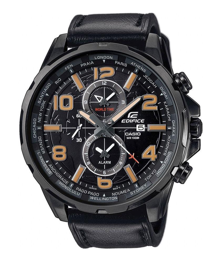 Часы наручные Casio, цвет: черный. EFR-302L-1ABP-001 BKНаручные часы Casio произведены опытными специалистами из материалов самого высокого качества на базе новейших технологий. Часы прошли тщательную проверку и контроль качества.Часы оснащены японским кварцевым механизмом. Корпус выполнен из высококачественной нержавеющей стали с IP покрытием. Циферблат оформлен накладными знаками в виде арабских цифр и отметок, защищен минеральным стеклом. Часы имеют три стрелки: часовую, минутную и секундную. Необритовое светонакопительное покрытие стрелок и отметок обеспечивает длительное послесвечение в темноте даже после кратковременного нахождения на свету. Ремешок часов выполнен из натуральной кожи и оснащен застежкой-пряжкой. Часы имеют дополнительные функции: мировое время, будильник. Часы укомплектованы паспортом с подробной инструкцией и упакованы в оригинальную фирменную коробку. Характеристики: Длина ремешка (с учетом корпуса): 24 см.Ширина ремешка: 2 см.Диаметр корпуса: 5,5 см.Диаметр циферблата: 5 см. Дополнительные функции: Мировое время - 24 города (24 часовых пояса), всемирное координированное время (UTC).Деловые переговоры, романтический ужин, встреча с друзьями одинаково успешны с часами Casio.