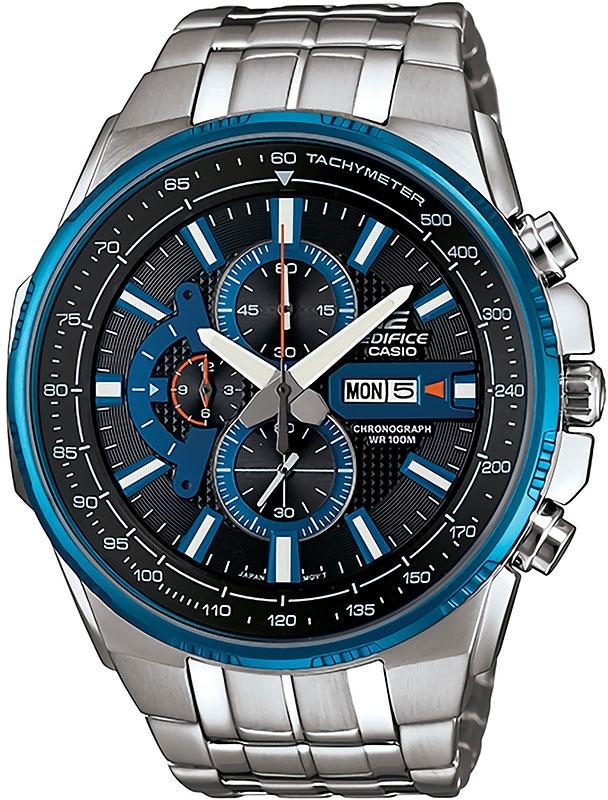 Часы наручные Casio, цвет: серебристый, синий. EFR-549D-1A2EFR-549D-1A2Наручные часы Casio произведены опытными специалистами из материалов самого высокого качества на базе новейших технологий. Часы прошли тщательную проверку и контроль качества. Часы оснащены японским кварцевым механизмом. Корпус выполнен из высококачественной нержавеющей стали с частичным IP покрытием. Циферблат оформлен накладными знаками в виде отметок, защищен минеральным стеклом. Часы имеют три стрелки: часовую, минутную и секундную. Браслет часов выполнен из стали и оснащен застежкой-клипсой. Часы имеют дополнительные функции: секундомер. Часы укомплектованы паспортом с подробной инструкцией и упакованы в оригинальную фирменную коробку. Характеристики: Длина ремешка (с учетом корпуса): 27 см. Ширина ремешка: 2 см. Диаметр корпуса: 5,5 см. Диаметр циферблата: 5 см. Дополнительные функции: Секундомер с точностью показаний 1с и временем измерения 12ч. Деловые переговоры, романтический ужин, встреча с друзьями...
