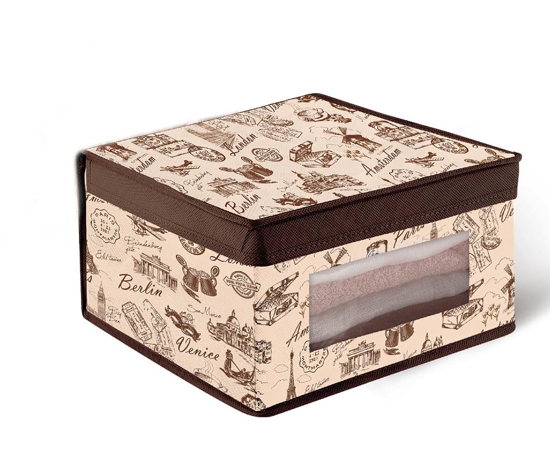 Кофр для хранения Valiant Travelling, с окошком, 30 х 30 х 16 смTRB311Кофр для хранения Valiant Travelling изготовлен из высококачественного нетканого материала, который обеспечивает естественную вентиляцию, позволяя воздуху проникать внутрь, но не пропускает пыль. Вставки из плотного картона хорошо держат форму. Кофр снабжен специальной крышкой, а также прозрачным окошком из ПВХ. Изделие отличается мобильностью: легко раскладывается и складывается. В таком кофре удобно хранить одежду, белье и мелкие аксессуары. Оригинальный дизайн погружает в атмосферу путешествий по разным городам и странам. Системы хранения в едином дизайне сделают вашу гардеробную красивой и невероятно стильной.