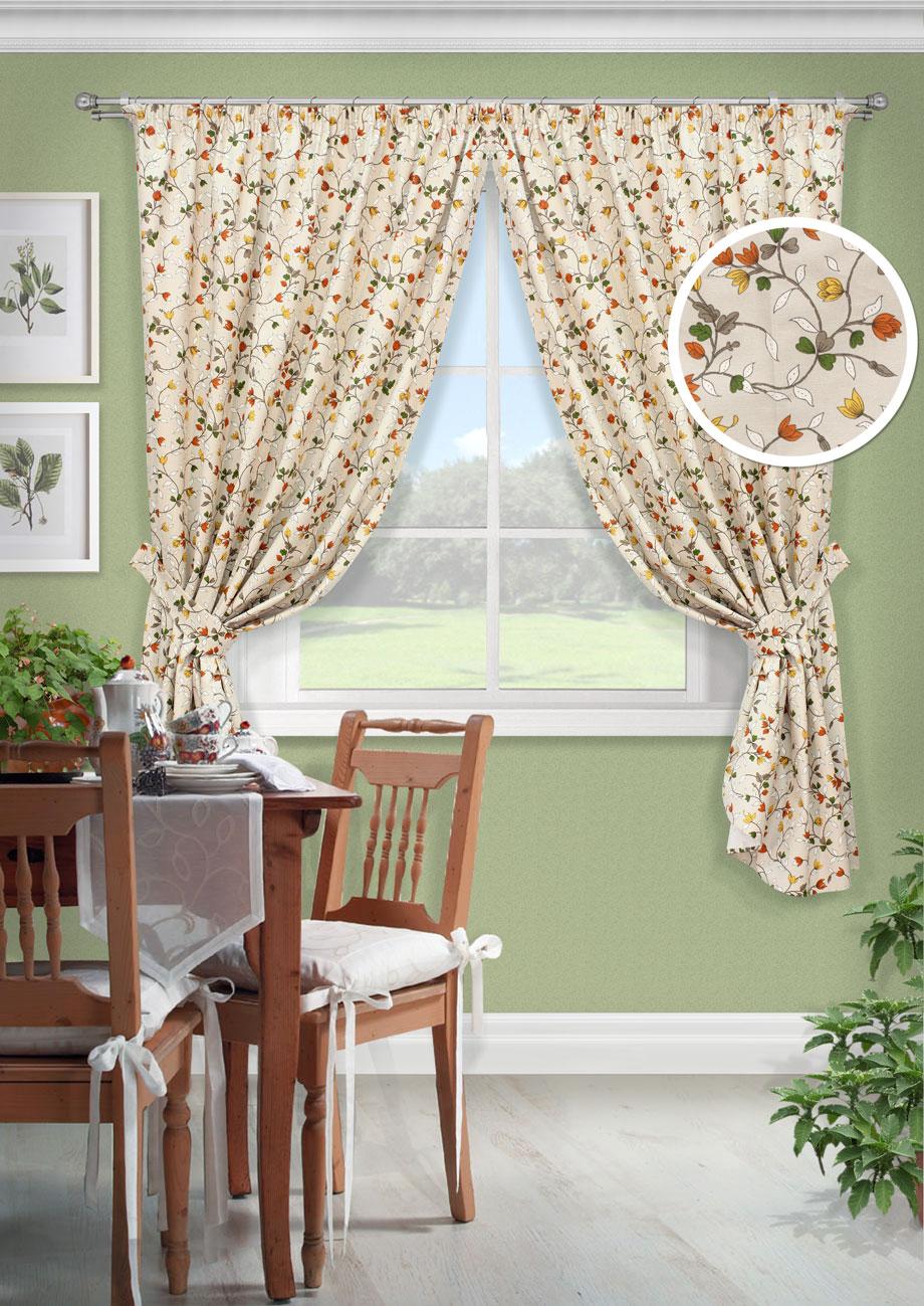 Комплект штор Лирика-С, UN12326163010503Комплект штор для кухни портьера лонета цветы. На шторной ленте(136*175)*2 + 2 подхвата