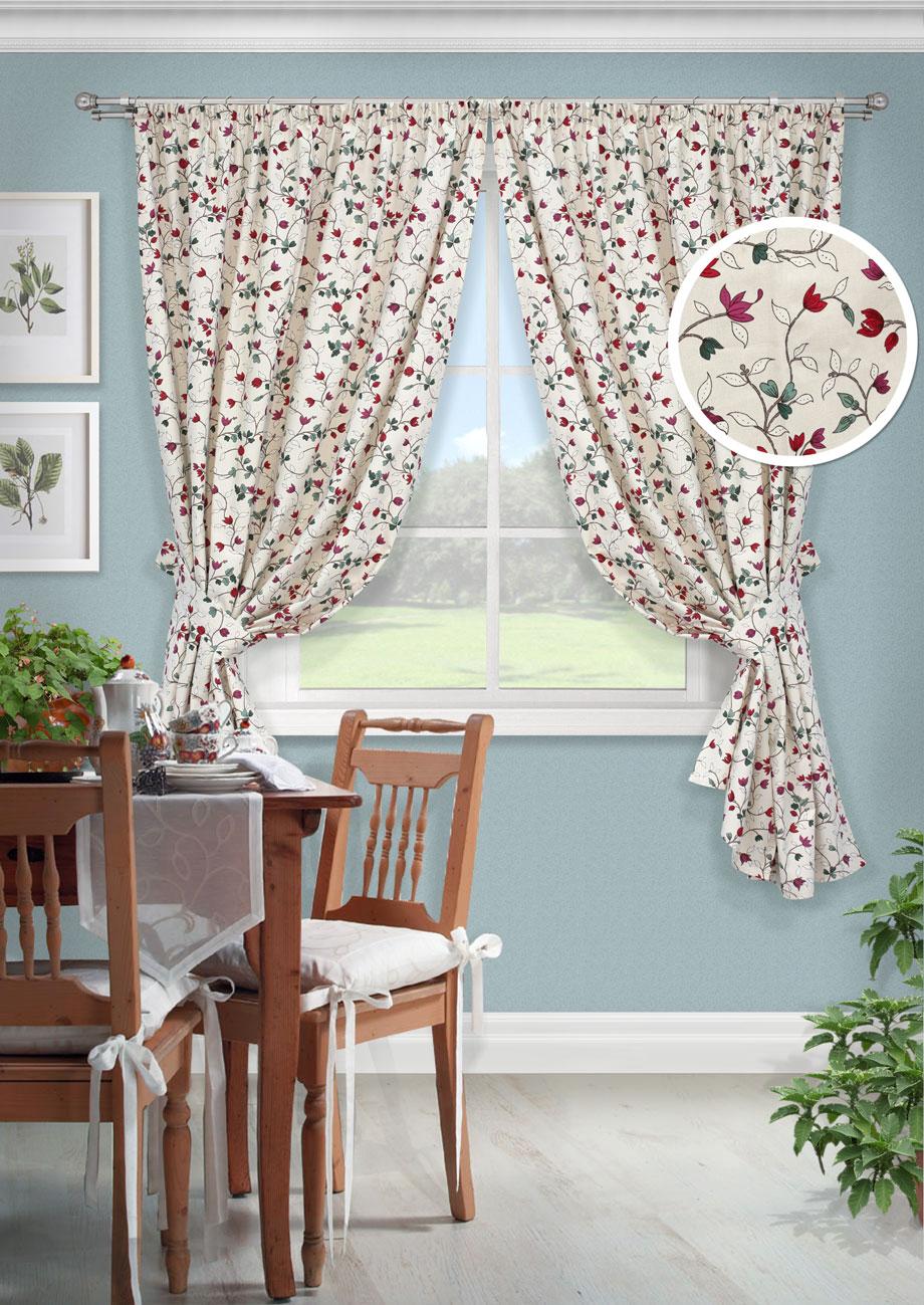 Комплект штор Лирика-С, UN123261670UN123261670Комплект штор для кухни портьера лонета цветы. На шторной ленте (136*175)*2 + 2 подхвата
