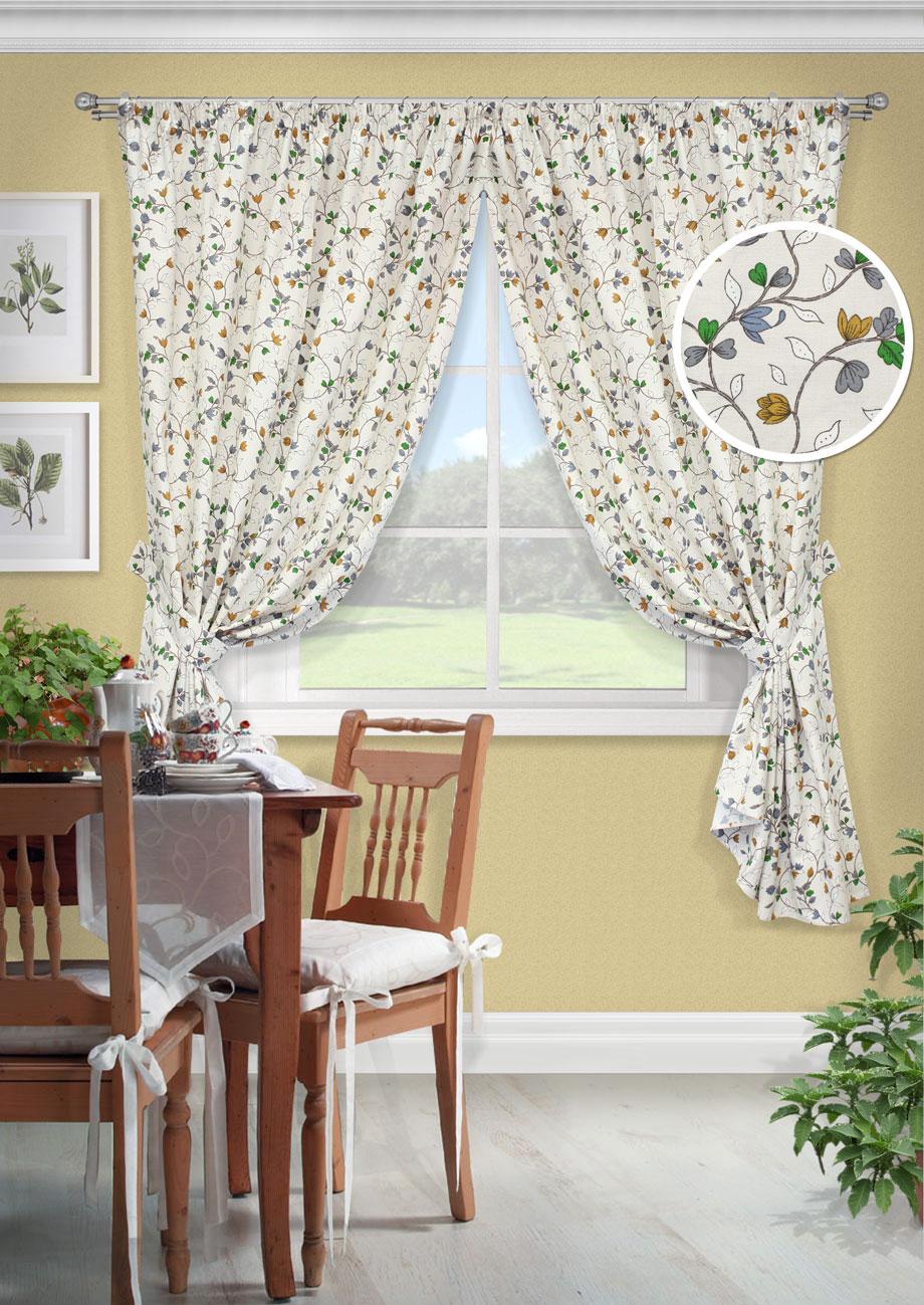 Комплект штор Лирика-С, UN12326168010503Комплект штор для кухни портьера лонета цветы. На шторной ленте(136*175)*2 + 2 подхвата