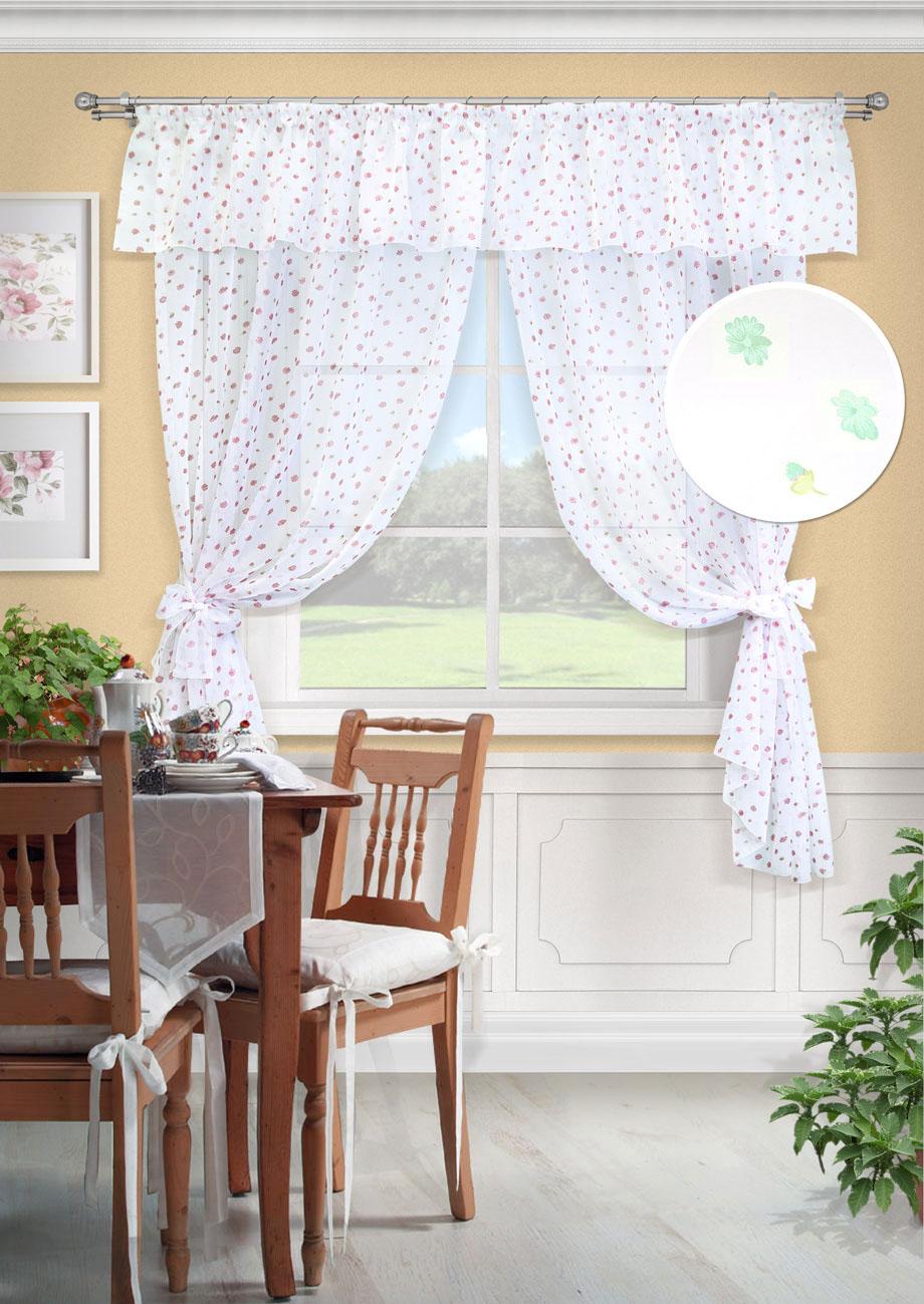 Комплект штор Флора-С, UN123505180S03301004Комплект штор для кухни две шторы вуаль принт, ламбрекен, 2 подхвата. Состав 100% Полиэстер. Цвет белый2 шторы 139х187см, ламбрекен 280х38см, 2 подхвата