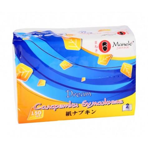 Салфетки бумажные Maneki серия Dream 2 слоя, 150 шт.FT1583Салфетки бумажные 2-х слойные произведены из 100% целлюлозы. Салфетки хорошо впитывают влагу и не оставляет «бумажной» пыли. Салфетки мягкие и шелковистые, не вызывают раздражения кожи, подходят для косметических целей. Отдушка нежно пахнет перфорирована не вызывает аллергических реакций. Материал: целлюлоза; цвет: белый