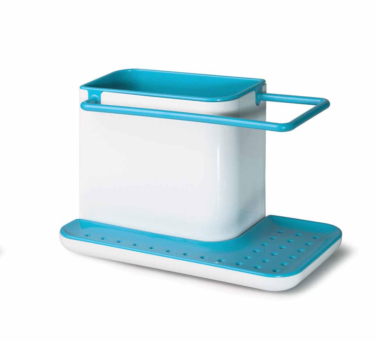 Подставка для кухонных принадлежностей Идея Mr. Чистоff, цвет: белый, голубойVT-1520(SR)Подставка для кухонных принадлежностей Идея Mr. Чистоff поможет навести на кухне полный порядок и расставить все по своим местам. В ней найдется место для кухонной салфетки, моющего средства, ершика и губки. Подставка не только поможет вам держать под рукой необходимые для мытья посуды принадлежности, но и прекрасно подойдет к интерьеру любой кухни.Кухонную салфетку можно повесить на рейлинг, где она быстрей высохнет, а губку для мытья посуды положить на решетку. Вся вода, которая будет стекать с моющих принадлежностей, соберётся в специальном поддоне. Подставку можно расположить в любом удобном месте, при необходимости она легко разбирается и моется. Размер подставки: 21 см х 11,5 см х 13,5 см.