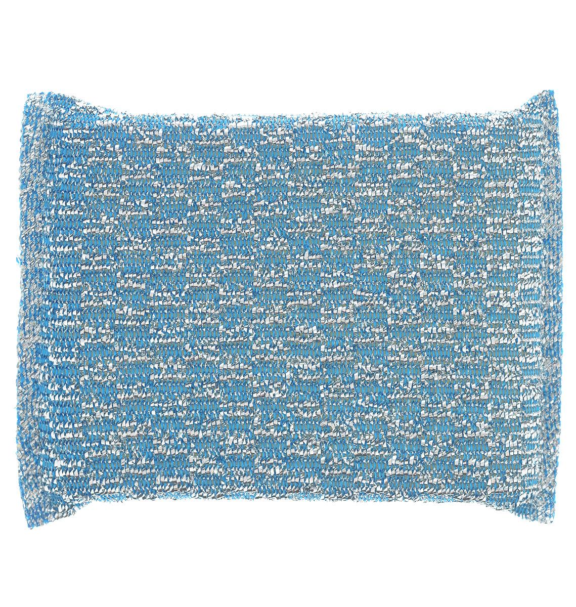 Губка для мытья посуды Home Queen, с металлизированной нитью, цвет: синийS03301004Губка для мытья посуды Home Queen изготовлена из поролона в чехле из полипропиленовой металлизированной нити. Предназначена для мытья посуды и очистки сильно загрязненных кухонных поверхностей. Удобна в применении. Позволяет экономить моющее средство, благодаря структуре поролона, который дает много пены при использовании.Материал: полипропиленовая металлизированная нить, поролон.