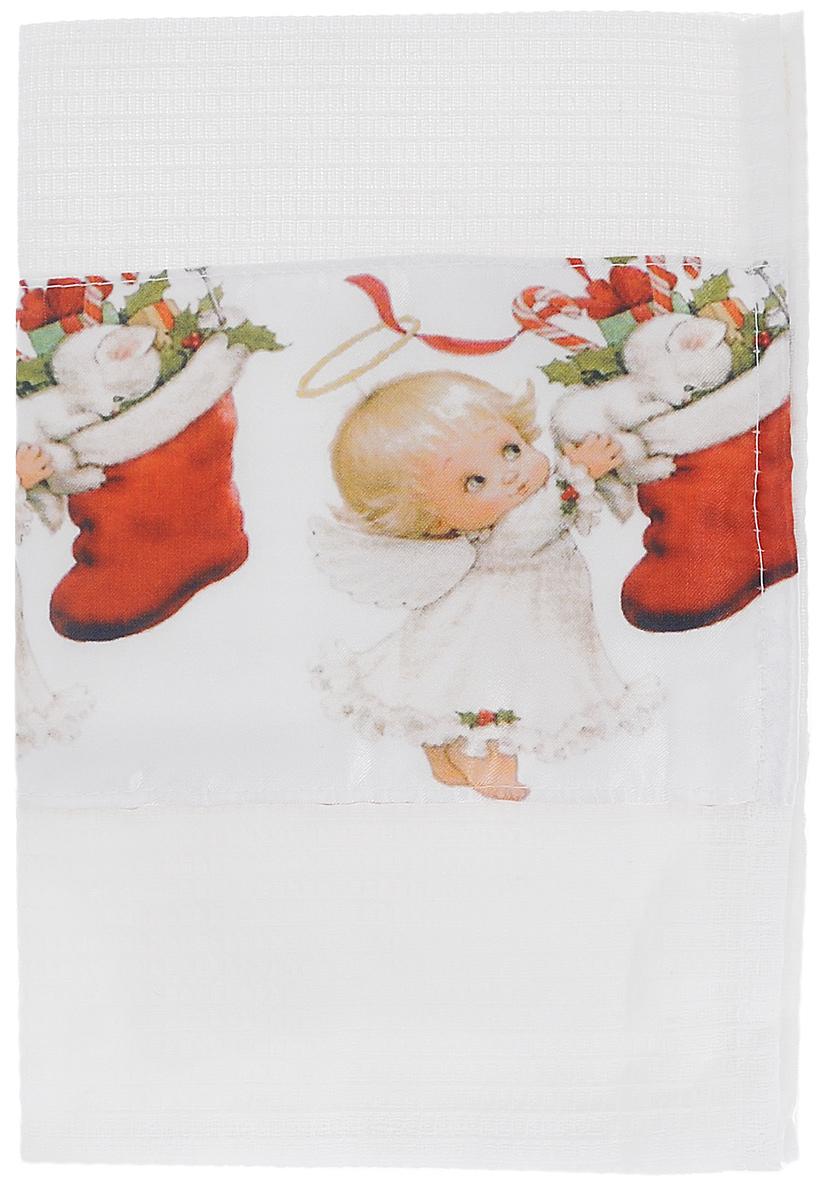 Полотенце кухонное Eva Зима, цвет: белый, красный, 60 х 34 смА061 ОК1Полотенце Eva Зима, выполненное из полиэстера и хлопка, оформлено ярким рисунком. Полотенце предназначено для использования на кухне и в столовой. Полотенце Eva Зима - отличный вариант для практичной и современной хозяйки.