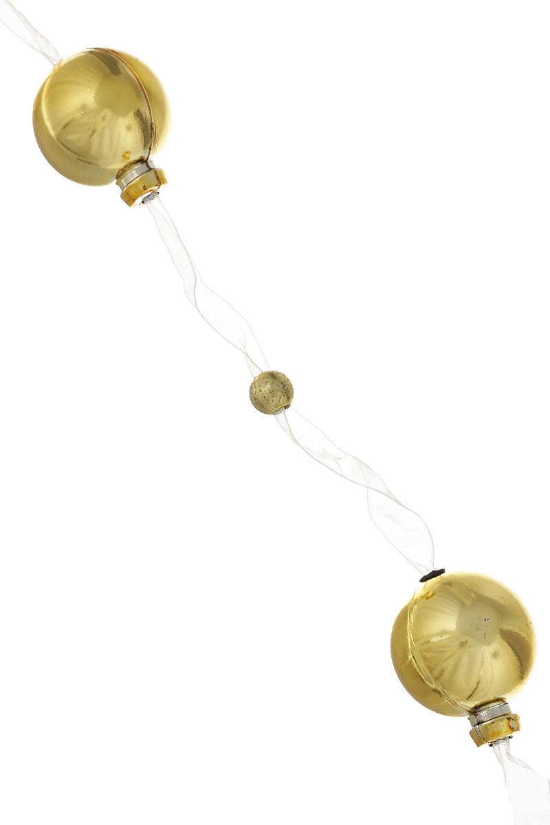 Новогодняя гирлянда Lunten Ranta, на ленте, цвет: золотой, длина 2 м65513Гирлянда Lunten Ranta идеально подойдет для украшения новогодней ели и декорирования интерьера. Изделие представляет собой ожерелье из пластиковых бусин, нанизанных на ленту. Оригинальный дизайн и красочное исполнение создадут праздничное настроение. Новогодние украшения всегда несут в себе волшебство и красоту праздника. Создайте в своем доме атмосферу тепла, веселья и радости, украшая его всей семьей. Диаметр бусин: 3 см, 0,8 см.