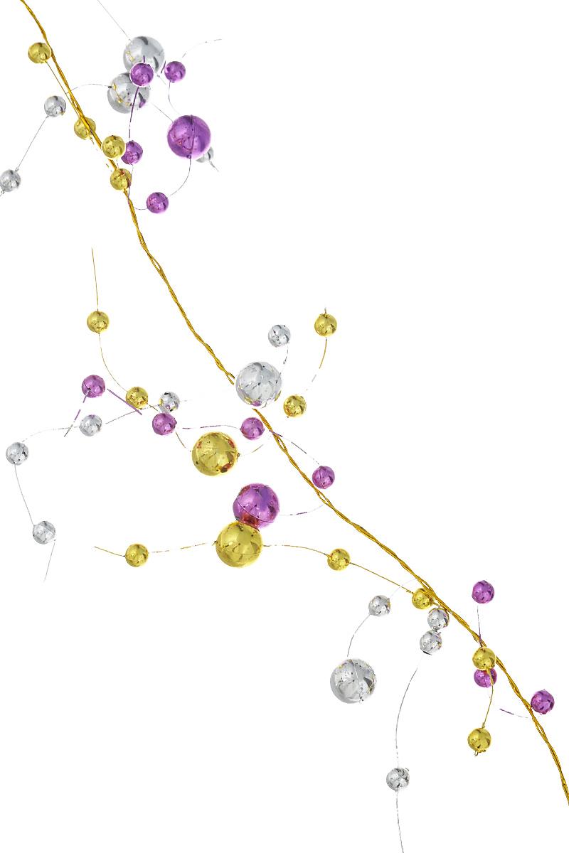 Новогоднее украшение Lunten Ranta Бусы. Веточки, цвет: серебристый, золотистый, фиолетовый, длина 2 м65561Новогоднее украшение Lunten Ranta Веточки отлично подойдет для декорации вашего дома и новогодней ели. Изделие, выполненное из пластика, представляет собой гирлянду, на леске, на которой нанизаны круглые бусины разного размера. Новогодние украшения несут в себе волшебство и красоту праздника. Они помогут вам украсить дом к предстоящим праздникам и оживить интерьер по вашему вкусу. Создайте в доме атмосферу тепла, веселья и радости, украшая его всей семьей. Диаметр бусин: 1 см; 0,5 см.