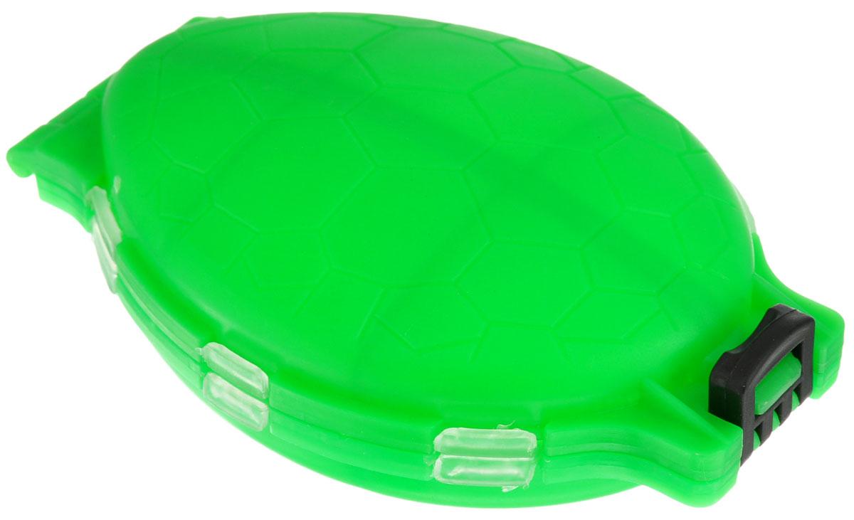 Органайзер для мелочей, двухсторонний, цвет: зеленый, 11 см х 7,5 см х 2,5 см679530/8952430_зеленыйУдобная пластиковая коробка Три кита Черепашка прекрасно подойдет для хранения и транспортировки различных мелочей. Коробка имеет 12 фиксированных секций, закрывающихся на крышки. Удобный и надежный замок-защелка обеспечивает надежное закрывание коробки. Такая коробка поможет держать вещи в порядке. Средний размер секции: 3 см х 3 см.