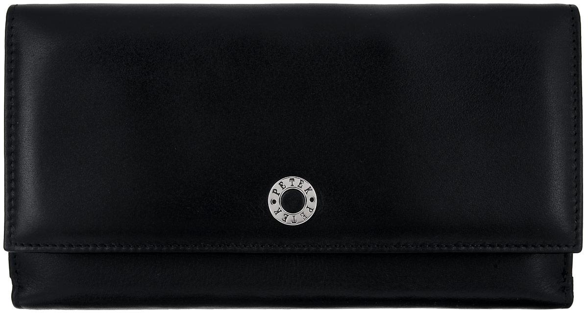 Портмоне женское Petek 1855, цвет: черный. 405.000.01405.000.01 BlackЖенское портмоне Petek 1855 изготовлено из натуральной кожи. Изделие состоит из двух отсеков. В первом отсеке, который закрывается клапаном на застежку-кнопку, расположены пять горизонтальных карманов для пластиковых карт, один из которых с окошком из прозрачного сетчатого материала, три больших горизонтальных кармана, два отделения для купюр, карман для мелочи на застежке-молнии, небольшой прорезной карман на застежке-молнии. Во втором отсеке, который закрывается хлястиком на застежку-кнопку, расположены восемь вертикальных карманов разного размера, один из которых с окошком из прозрачного сетчатого материала и четыре больших горизонтальных кармана. Изделие упаковано в фирменную коробку. Стильное портмоне эффектно дополнит ваш образ и станет незаменимым аксессуаром на каждый день.