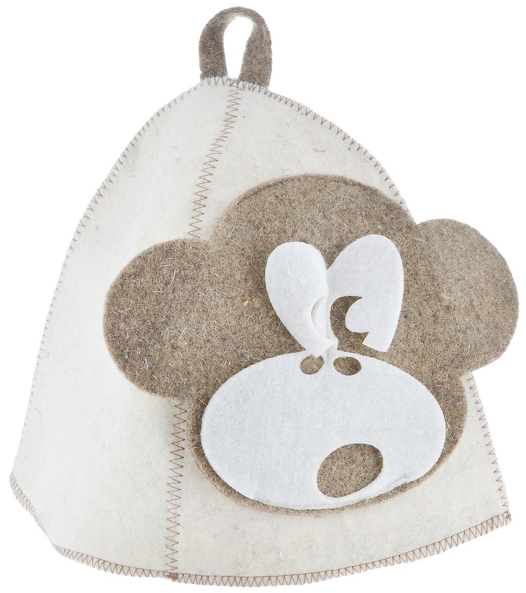 Шапка для бани и сауны Главбаня Обезьянка, войлокА342Банная шапка Главбаня Обезьянка изготовлена из высококачественного войлока и декорирована аппликацией в виде обезьяны. Банная шапка - это незаменимый аксессуар для любителей попариться в русской бане и для тех, кто предпочитает сухой жар финской бани. Кроме того, шапка защитит волосы от сухости и ломкости, голову от перегрева и предотвратит появление головокружения. На шапке имеется петелька, с помощью которой ее можно повесить на крючок в предбаннике. Такая шапка станет отличным подарком для любителей отдыха в бане или сауне. Обхват головы: 67 см. Высота шапки: 23 см. Материал: войлок (50% шерсть, 50% полиэфир).