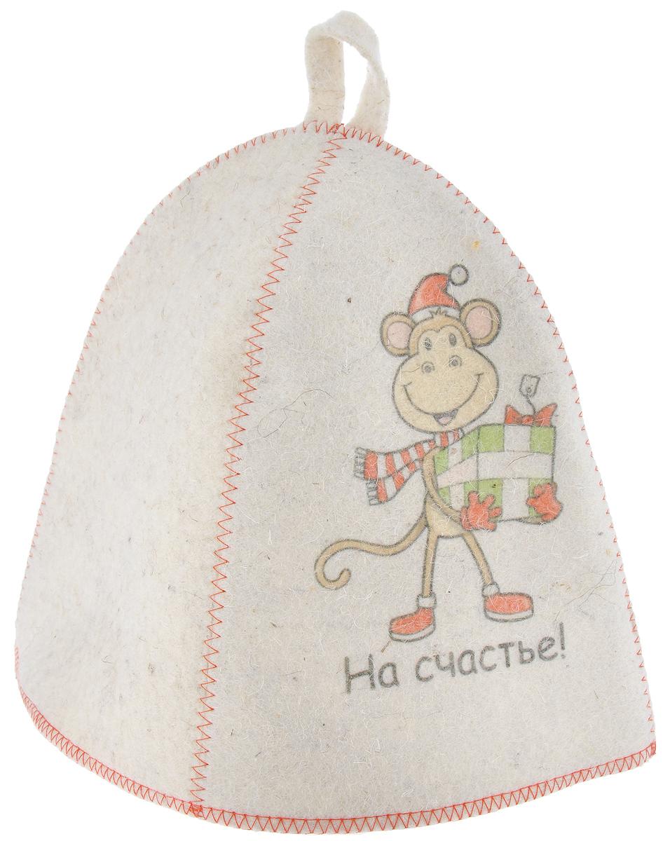 Шапка для бани и сауны Главбаня На счастье!, войлокА3440Банная шапка Главбаня На счастье! изготовлена из высококачественного войлока и декорирована изображением забавной обезьяны с подарком и надписью На счастье!. Банная шапка - это незаменимый аксессуар для любителей попариться в русской бане и для тех, кто предпочитает сухой жар финской бани. Кроме того, шапка защитит волосы от сухости и ломкости, голову от перегрева и предотвратит появление головокружения. На шапке имеется петелька, с помощью которой ее можно повесить на крючок в предбаннике. Такая шапка станет отличным подарком для любителей отдыха в бане или сауне. Обхват головы: 67 см. Высота шапки: 23 см. Материал: войлок (50% шерсть, 50% полиэфир).