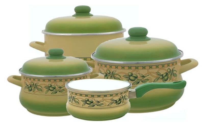 2071/ Оливки, Набор посуды 6/1 + Ковш 16см , форма Эмина, METROT(Метрот) (1)83210Объем большой кастрюли: 5,5 л. Объем средней кастрюли: 3,5 л. Объем малой кастрюли: 2 л. Объем ковша: 1,5 л. Материал: эмалированная сталь; рисунок Деколь