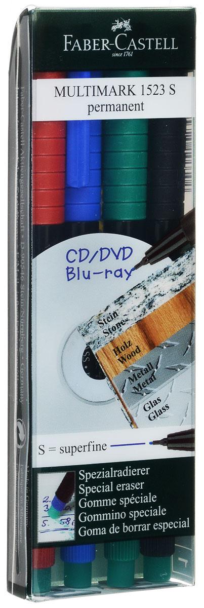 Faber-Castell Капиллярная ручка Multimark 4 шт610842Капиллярная ручка Faber-Castell Multimark пригодна для письма на пленке для проекторов и всех видах гладких поверхностей - CD, металл, стекло, пластик (PP, PET, ПВХ и т.д.). Ручка содержит специальный ластик для стирания чернил. В комплект входят 4 ручки красного, синего, зеленого и черного цветов.