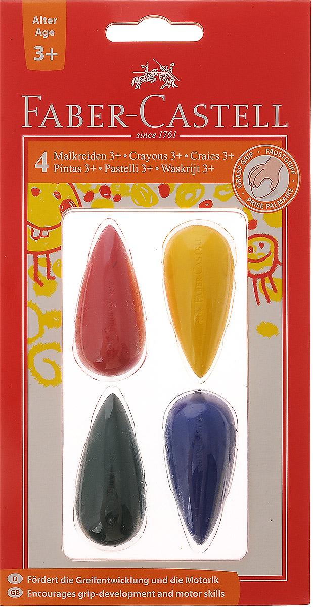 Faber-Castell Мелки цветные для дошкольного возраста 4 шт120405Цветные мелки Faber-Castell выполнены в форме капли. Мелки предназначены для письма и рисования на школьных досках, асфальте и бетоне, устойчивы к крошению. С помощью цветных мелков Faber-Castell малыш сможет создать яркие, радостные и неповторимые картины. В комплект входит 4 мелка красного, желтого, зеленого и синего цветов. Для детей от 3 лет.