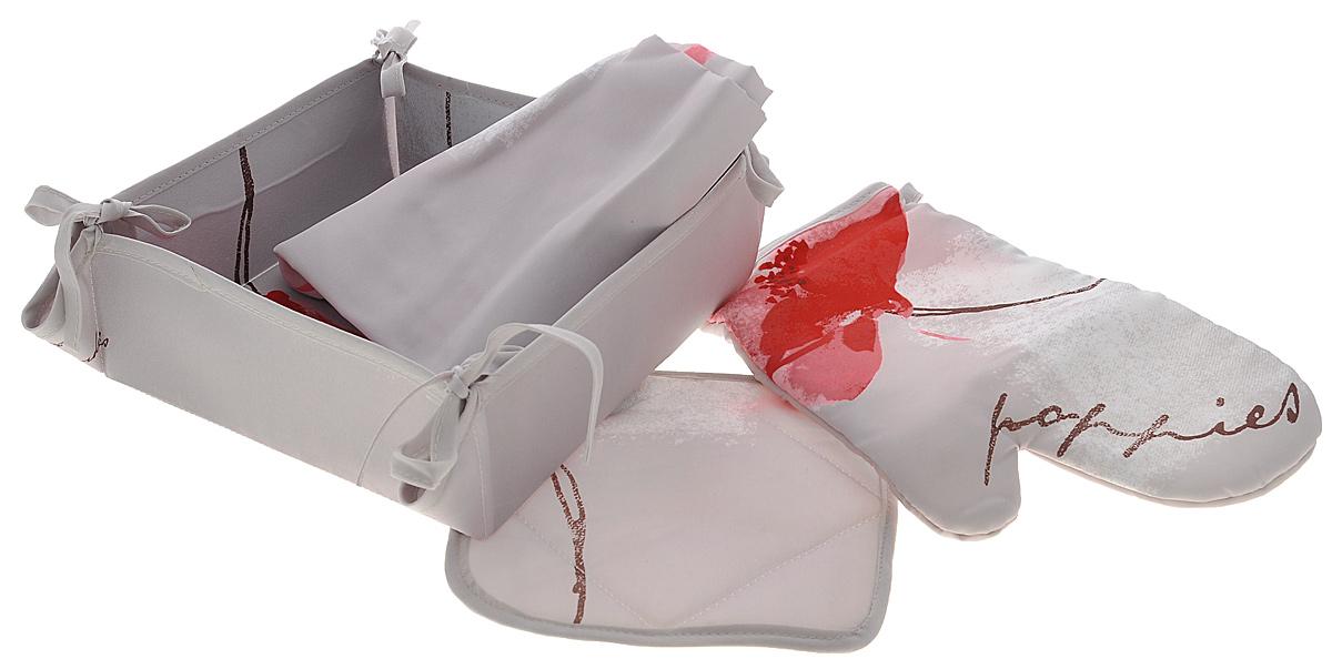 Набор кухонный Подушкино Поэма, 4 предмета28230Кухонный набор Подушкино Поэма состоит из фартука, прихватки, варежки-прихватки и хлебницы. Изделия выполнены из высококачественного полиэстера с водоотталкивающей пропиткой. Красивый дизайн с цветочным принтом сделает этот набор желанным для любой хозяйки. Фартук универсального размера, имеет завязки на талии и лямку на шее, регулируемую по длине. Спереди содержится карман для мелочей. Прихватки помогут справиться с любой горячей посудой и сберегут ваши руки от ожогов. В комплекте также имеется хлебница с основанием из плотного картона, который прекрасно держит форму. Кухонный набор Подушкино Поэма незаменим на современной кухне! Яркий и оригинальный дизайн вдохновит вас на новые кулинарные подвиги. Размер фартука: 68 см х 75 см. Размер хлебницы: 20 см х 20 см х 7 см. Размер прихватки: 18 см х 18 см. Размер варежки-прихватки: 26 см х 18 см.