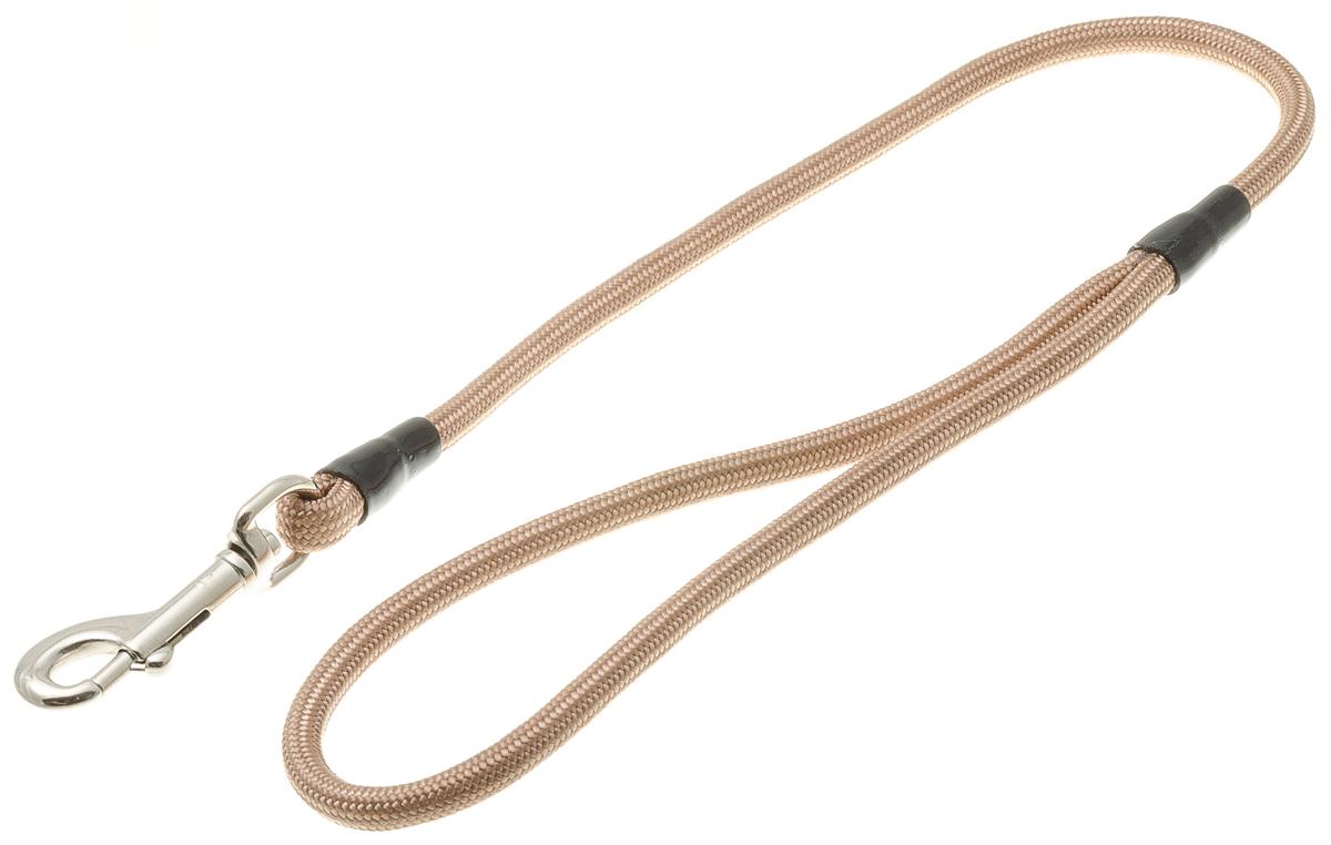Водилка для собак V.I.Pet, цвет: кэмел, диаметр 6 мм, длина 50 см72-0784Профессиональная водилка V.I.Pet изготовлена из нейлона. Легкая, прочная, удобная. Применяется также для повседневного использования. При помощи карабина идеально комбинируется с выставочными цепочками, ошейниками, полуудавками. Шнур с плетеным кордом обладает высокой прочностью и прекрасно держит форму.