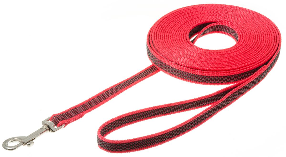 Поводок с карабином профессиональный с латексом 15мм*7м (красный) 73-257873-2578нейлон;латекс;стальной карабин
