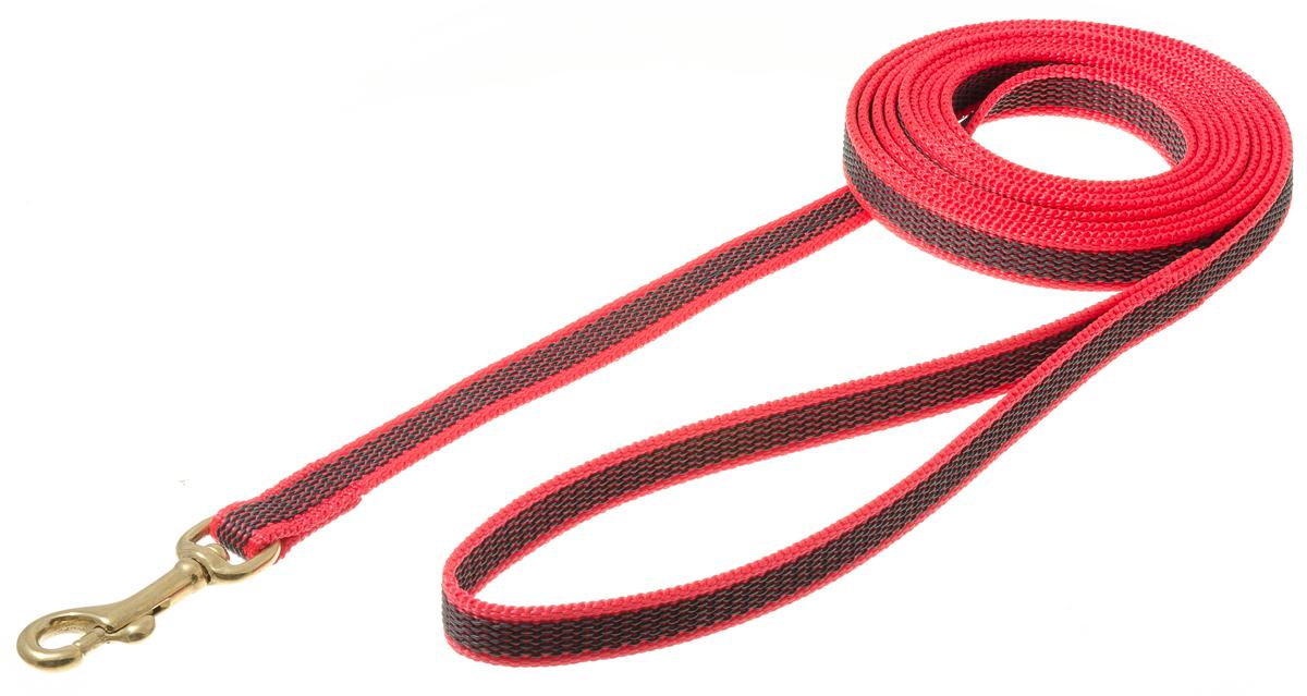 Поводок с карабином профессиональный с латексом 15мм*3м (красный) (бронзовый карабин) 73-25830120710нейлон;латекс;бронзовый карабин