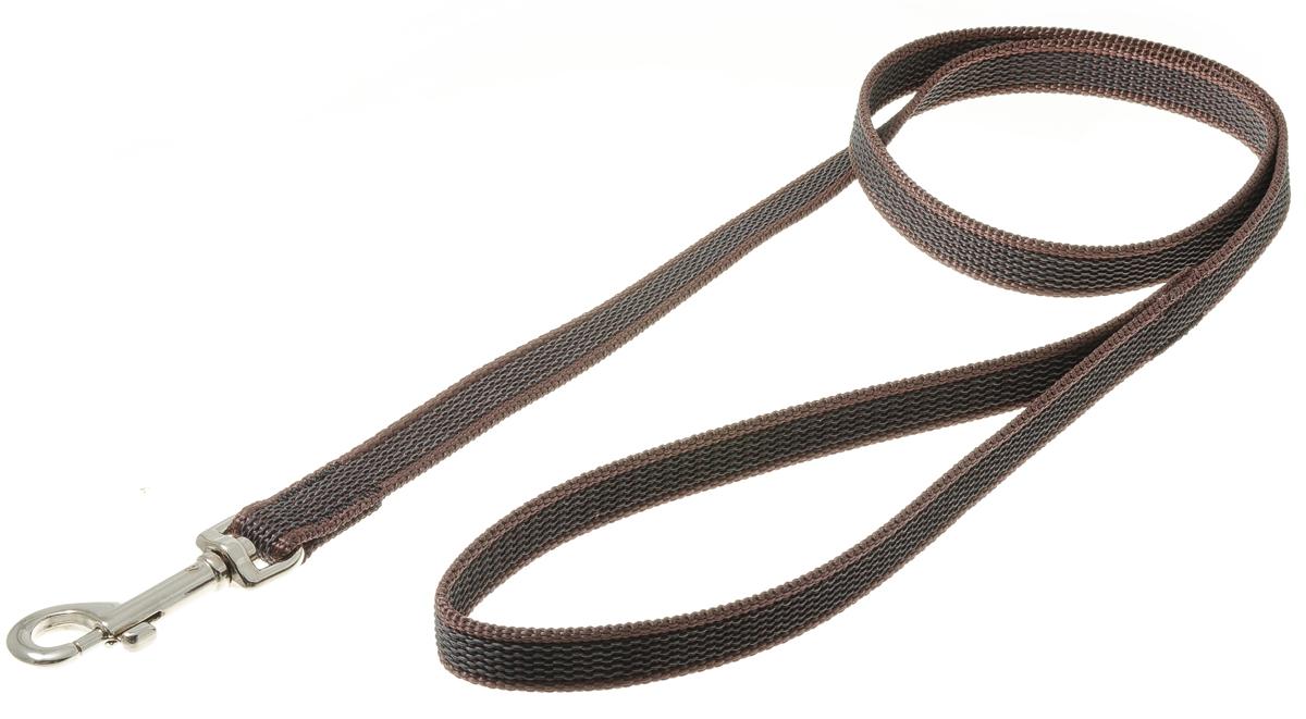 Поводок для собак V.I.Pet, профессиональный, цвет: стальной, коричневый, ширина 15 мм, длина 1 м0120710Профессиональный нейлоновый поводок V.I.Pet с латексной нитью предназначен для дрессировки собак, а также для повседневного использования. Подойдет для сильных и активных собак. Не скользит, не обжигает руки. Вращающийся вертлюг карабина предотвращает перекручивание поводка.Ширина поводка: 15 мм.