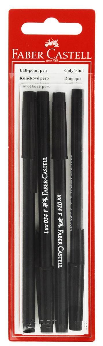 Faber-Castell Ручка шариковая 034-F цвет черный 4 шт72523WDШариковая ручка Faber-Castell 034-F станет незаменимым атрибутом учебы или работы. Корпус ручки и колпачок выполнены из пластика черного цвета. Высококачественные черные чернила позволяют добиться идеальной плавности письма.Ручка оснащена клип-зажимом для удобной фиксации на бумаге или одежде.В комплект входят 4 ручки с черными чернилами.