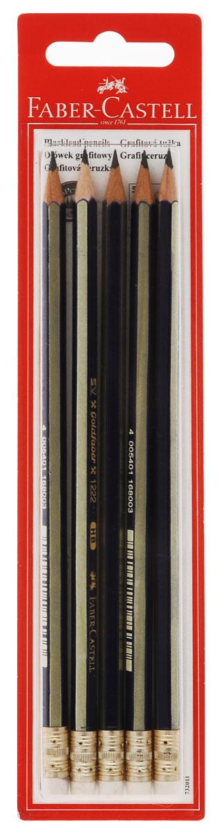Faber-Castell Чернографитовый карандаш Goldfaber твердость HB 5 шт72523WDЧернографитовый карандаш Faber-Castell Goldfaber станет не только идеальным инструментом для письма, рисования или черчения, но и дополнит ваш имидж. Шестигранный корпус выполнен из натуральной древесины с сине-золотистым покрытием с надписями золотистого цвета. Высококачественный ударопрочный грифель не крошится и не ломается при заточке. Качественная мягкая древесина обеспечивает хорошее затачивание. Специальная SV технология вклеивания грифеля предотвращает его поломку при падении на пол. Наконечник карандаша оснащен ластиком.Карандаши покрыты лаком на водной основе в целях защиты окружающей среды. Степень твердости - HB. В комплект входят 5 графитовых карандашей.